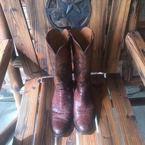Rare Lucchese Horned Back Lizard Brown Boots, 10D